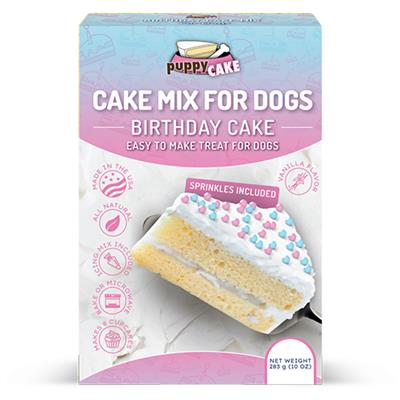 Puppy Cake Mix and Frosting- Birthday Cake with Sprinkles
