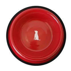 Non Skid Red Bowl With White Dog Design