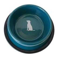 Nonskid Dog Bowl with Cool Gray Dog Silhouette - Teal
