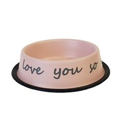 I LOVE YOU SO MUCH Matte Pink Dog Bowl