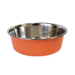 Heavy Gauge Stainless Steel Dog Bowl - Non Skid - Orange