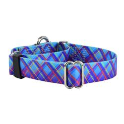 5/8″ and 1″ EarthStyle Twilight Glow Blue Plaid Dog Collars & Leads