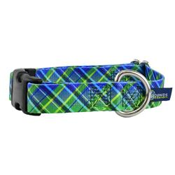 5/8″ and 1″ EarthStyle Electric Glow Green Plaid Dog Collars & Leads