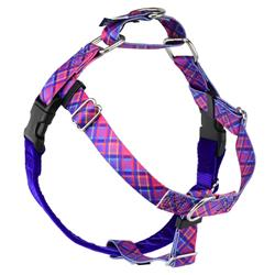 Earthstyle Neon Sunrise Pink Plaid Freedom No-Pull Dog Harness