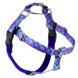 Earthstyle Twilight Glow Blue Plaid Freedom No-Pull Dog Harness