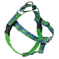 Earthstyle Electric Glow Green Plaid Freedom No-Pull Dog Harness