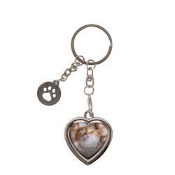 Heart Keychain with Paw Charm