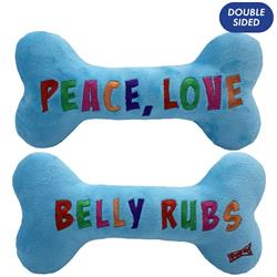 Peace, Love, Belly Rubs Bone (embroidered two sides) by Lulubelles Power Plush