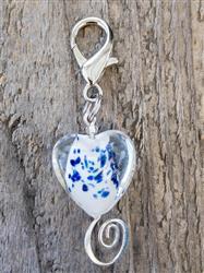 Sea Glass Hearts Dog Collar Charm