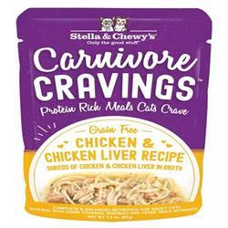 Stella & Chewys Cat Carnivore Cravings Shred Chicken & Liver 2.8oz. (Case of 24)