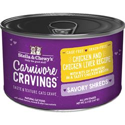 Stella & Chewys Cat Carnivore Cravings Shred Chicken & Liver 5.2oz. (Case of 24