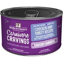 Stella & Chewys Cat Carnivore Cravings Shred Chicken & Turkey 5.2oz. (Case of 24