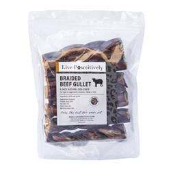 Braided Beef Gullets, 100 % Natural Dog Chews, 6 per Bag