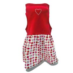 Red Top with Pink Ladybug Print on White with Silver Studded Heart on Top