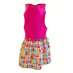 Hot Pink Top with Bright Silly Owls Print Skirt