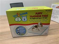 "Wiz B Gone Puppy / Adult Training Pads, Premium Quality 100 per box  22"" X 22"" Color Boxed"