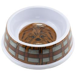 "Single Melamine Pet Bowl - 7.5"" (16oz) - Star Wars Chewbacca Face + Bandolier Bounding Browns/Gray"