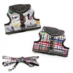 4160 Plaid - Hedgehog Print XXS Teacup Dog Harness Vest up to 8 LBS