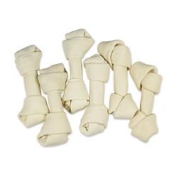 6-7'' Natural White Knotted Rawhide Bones Dog Chew Treats