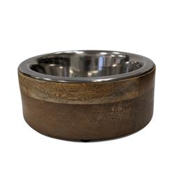Stainless Steel Dog Bowl with Cylindrical Mango Wood Holder