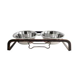 Rustic Dog Bone Feeder with 2 Stainless Steel Dog Bowls