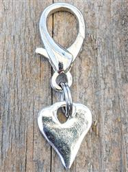 Melting Heart Silver Dog Collar Charm
