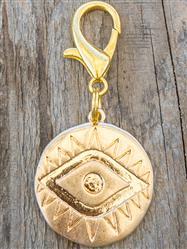 Gold Coin Evil Eye Dog Collar Charm