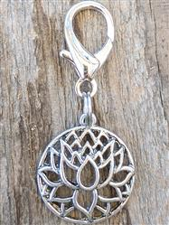 Lotus Silver Filigree Dog Collar Charm