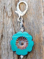 Bronzed Turquoise Concho Czech Glass Collar Charm