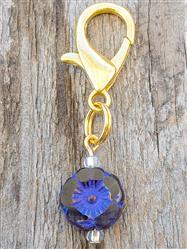 Hibiscus Czech Glass Collar Charm -  Deep Violet