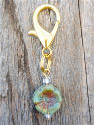 Hibiscus Czech Glass Collar Charm -  Aged Jade