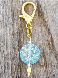 Dahlia Czech Glass Collar Charm -  Gilded Aqua
