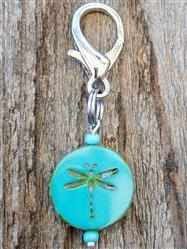 Dragonfly Czech Glass Collar Charm -  Turquoise Colored