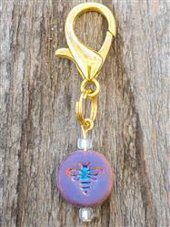 Bee Czech Glass Collar Charm -  Iridescent Rainbow Colored