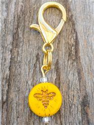 Bee Czech Glass Collar Charm -  Honey Colored