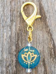 Lotus Czech Glass Collar Charm -  Aquamarine Colored