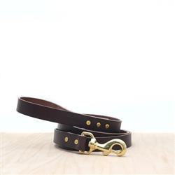 Dark Brown Leather Dog Leash