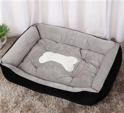Dog Bed (Black and Gray) With White Bone Silhouette