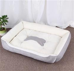 Dog Bed (White and Gray) With Gray Bone Silhouette