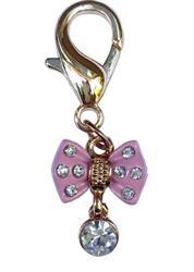 Tiny Pink Bow w/ Diamond Dog Collar Charm