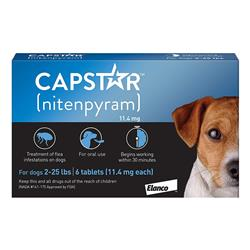 Capstar Tablets for Dogs 2-25 lbs - Blue (6 tablets)