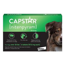 Capstar Tablets for Dogs Over 25 lbs - Green (6 tablets)