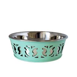 Stainless Steel Country Farmhouse Dog Bowl, RE Mint Green
