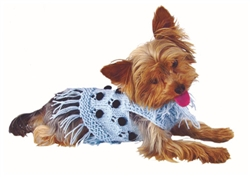 Pom Pom Ice Blue Hand Knit Sweater by Ruff Ruff Couture®