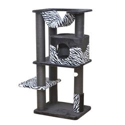 Petpals, Zebra Print Cat Tree - Cozy Cat Tower with Scratching Post, Hammock, Perch, and Condo Allure Kitten to Lounge in, Cats Love to Lazily Recline While Playing with Feather Toy and Rubber Massager