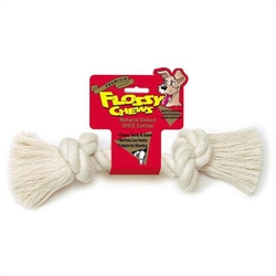 100% Cotton White Flossy Chews Rope Bone