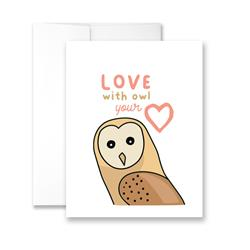 Love With OWL Your Heart (Barn Owl) - Package of Six Greeting Cards