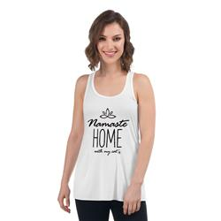 Namaste Home with My Cat Women's Tank Top (White)
