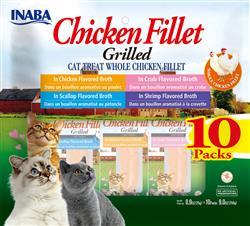 Churu Grilled Fillet Multi-Packs Chicken Fillet Variety Bag 10 Pieces - 9.0 Oz (0.9 Oz X 10P)