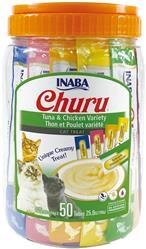 Churu Purée Tuna & Chicken Variety 50 Tubes - 25 Oz (0.5 Oz X 50T)